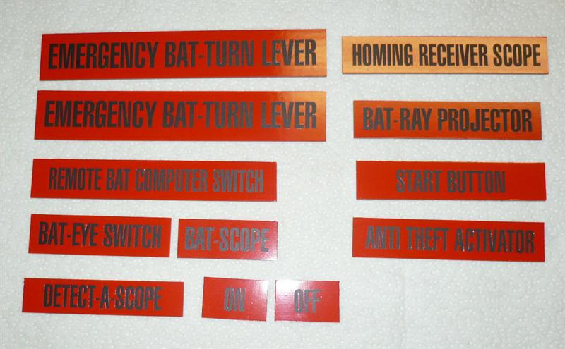 Batmobile Dash Label Placards