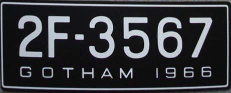 Batmobile License Plates